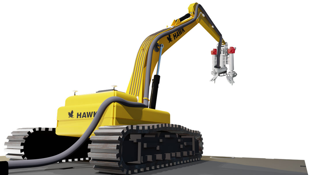 Hawk Long Reach Excavator Pluming Brackets